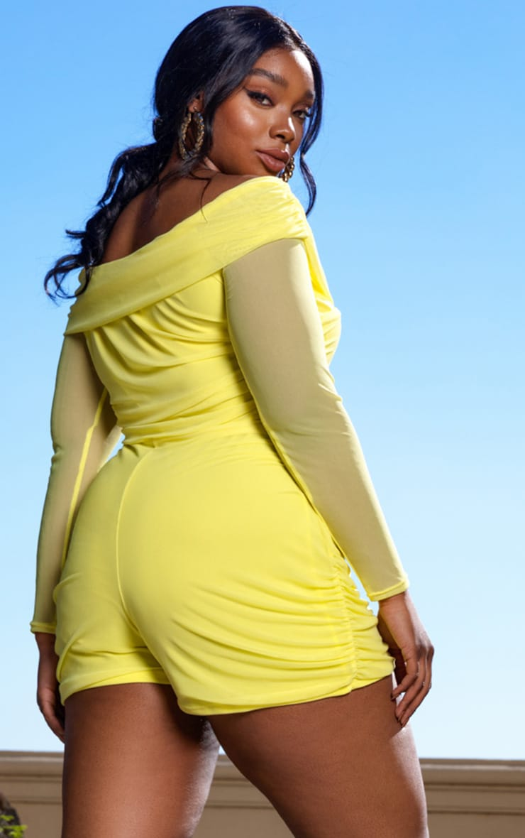 Plus Lemon Mesh Ruched Bardot Romper 2