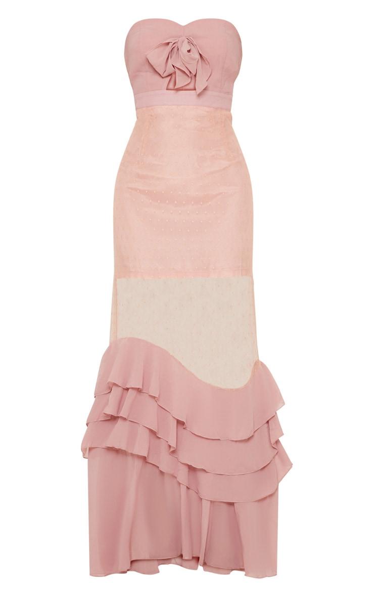 Dusty Pink Lace Bandeau Frill Hem Maxi Dress 3