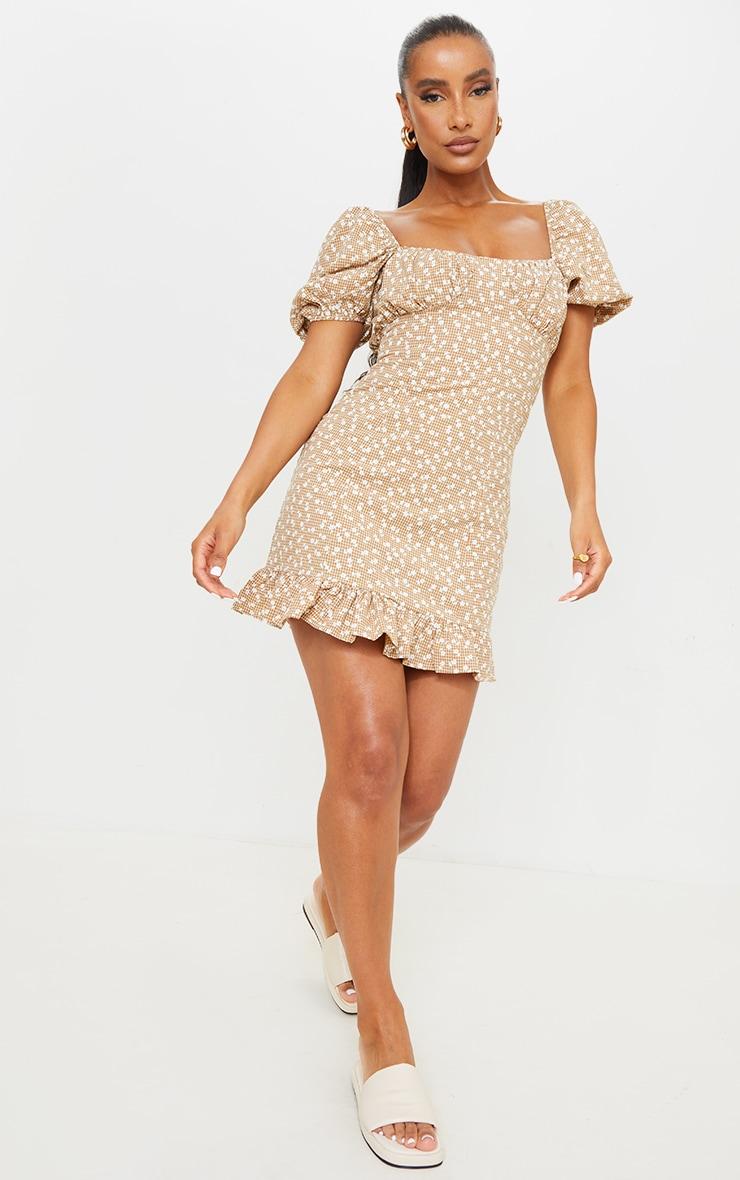 Brown Check Ditsy Print Ruched Bust Frill Hem Shift Dress 3