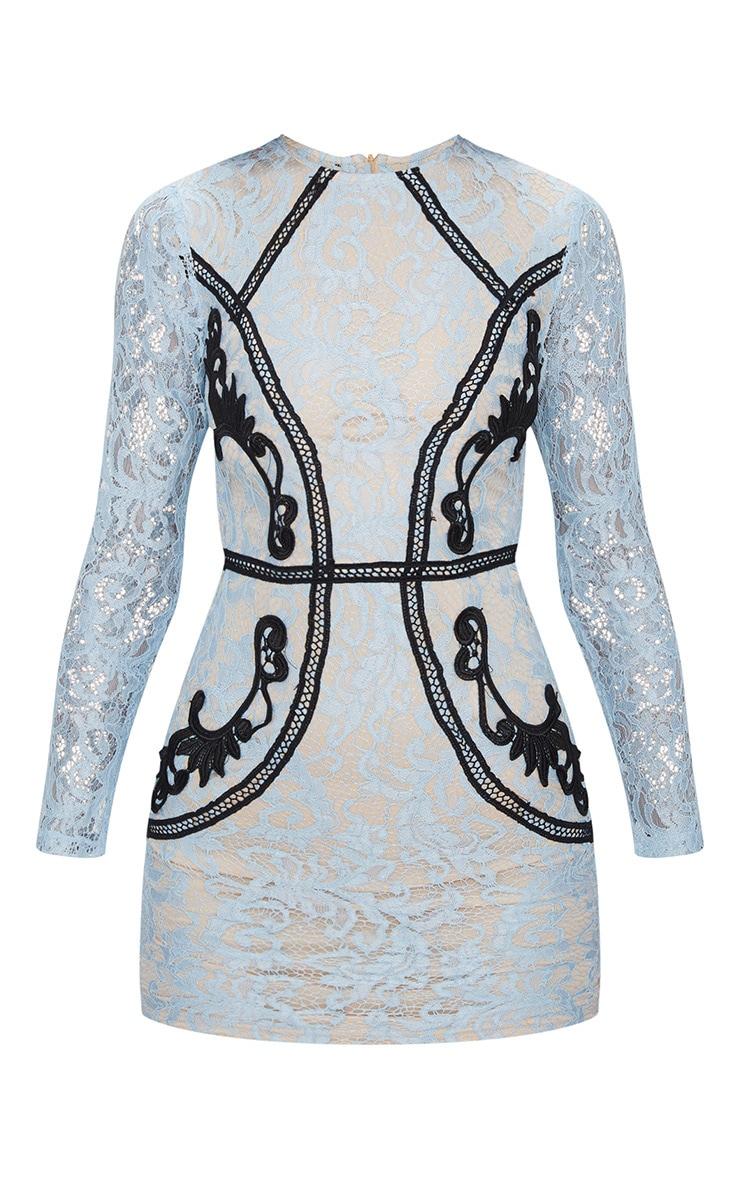 Dusty Blue Lace Contrast Trim Bodycon Dress 3