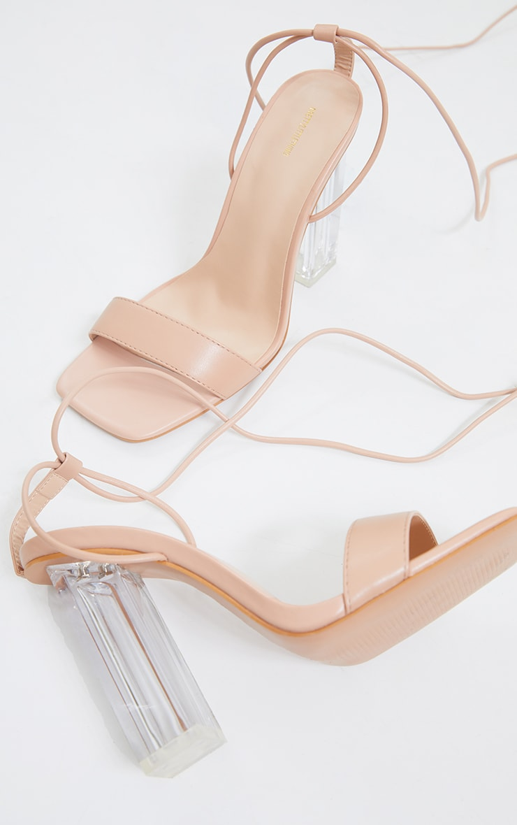 Nude Wide Fit Pu Lace Up High Clear Block Heels 3
