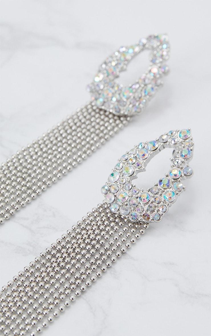Silver Diamante Circle Chain Tassel Earrings 5