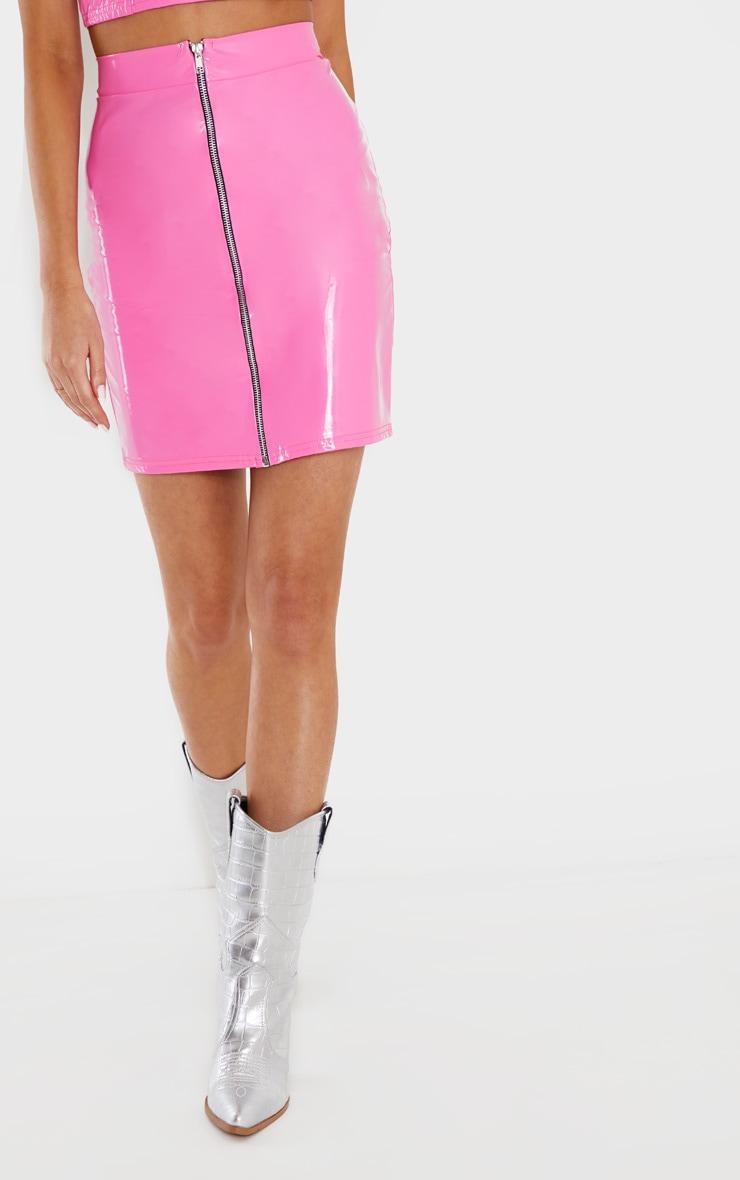 Hot Pink Vinyl Contrast Mini Skirt 2