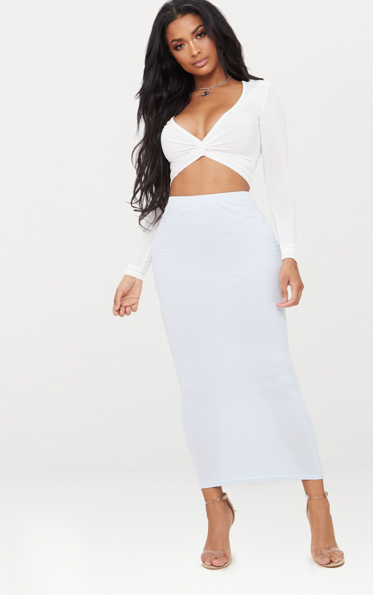 Shape White Slinky Twist Front Crop Top 4