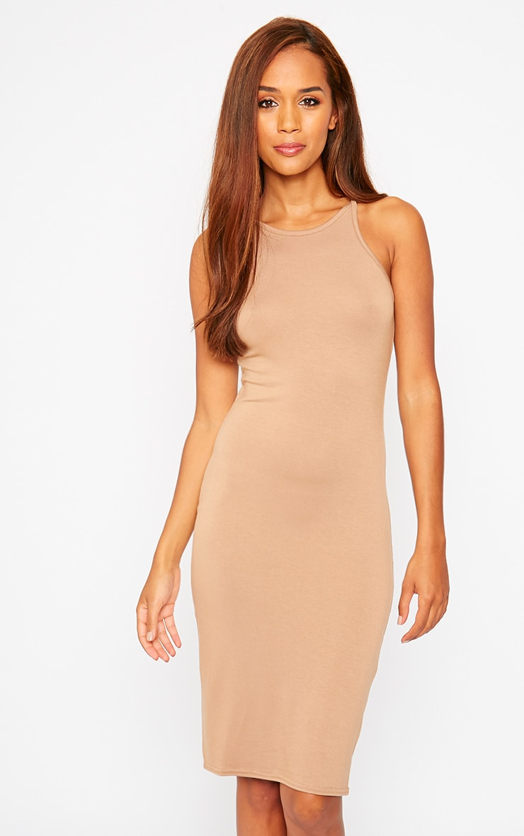 Basic Camel Jersey Racer Neck Dress 3