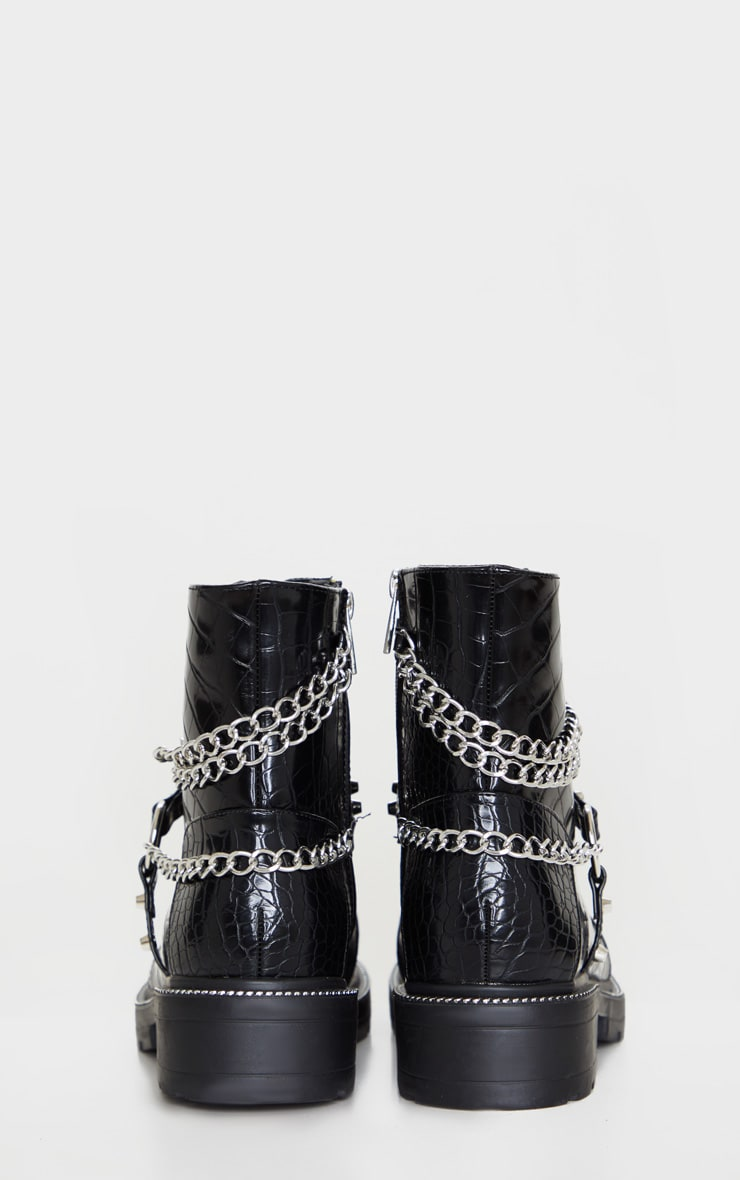 Black Chain Hiker Lace Up Ankle Boot 4