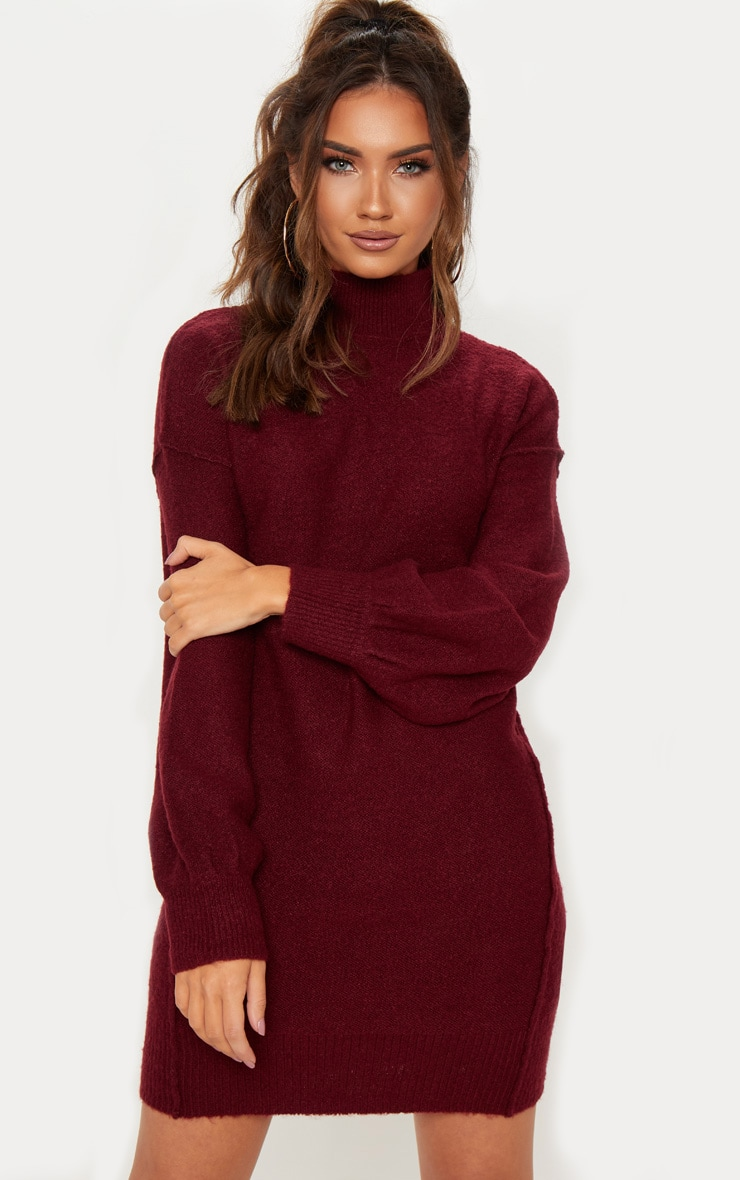 Burgundy High Neck Balloon Sleeve Knitted Dress