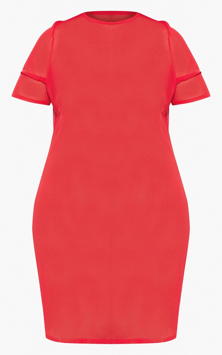 Plus Red Cap Sleeve Mesh Bodycon Dress 3