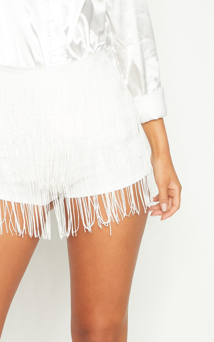 White Tirered Fringe Short 6