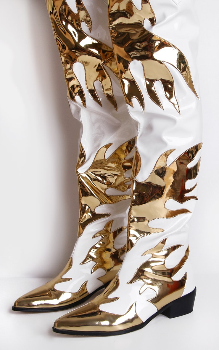 White Patent Gold Flame Thigh High Western Boots 2