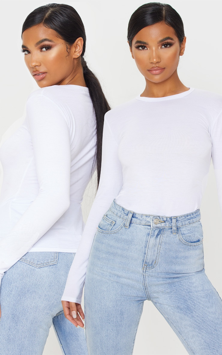 White Basic 2 Pack Long Sleeve Fitted T Shirt 1