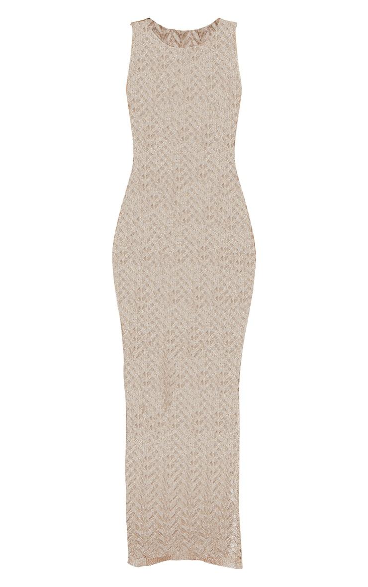 Gold Metallic Chevron Side Split Maxi Dress 5