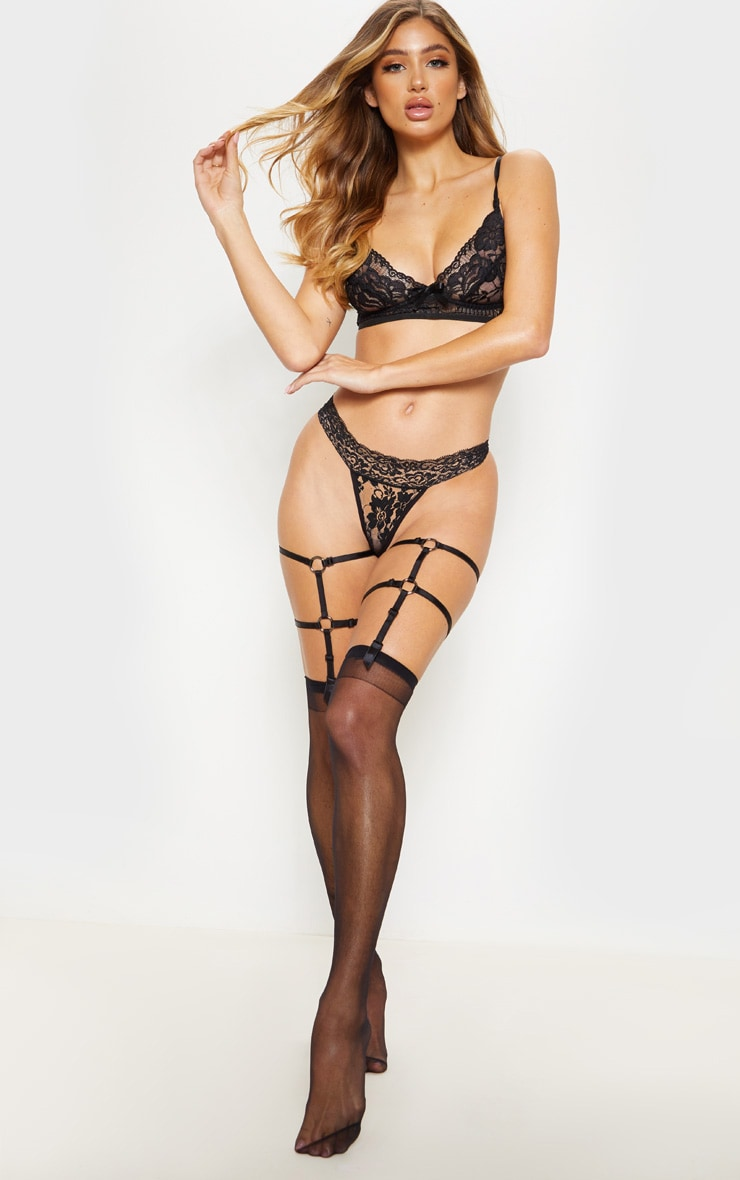 Black Lace Thong And Harness Hold Up Set 1