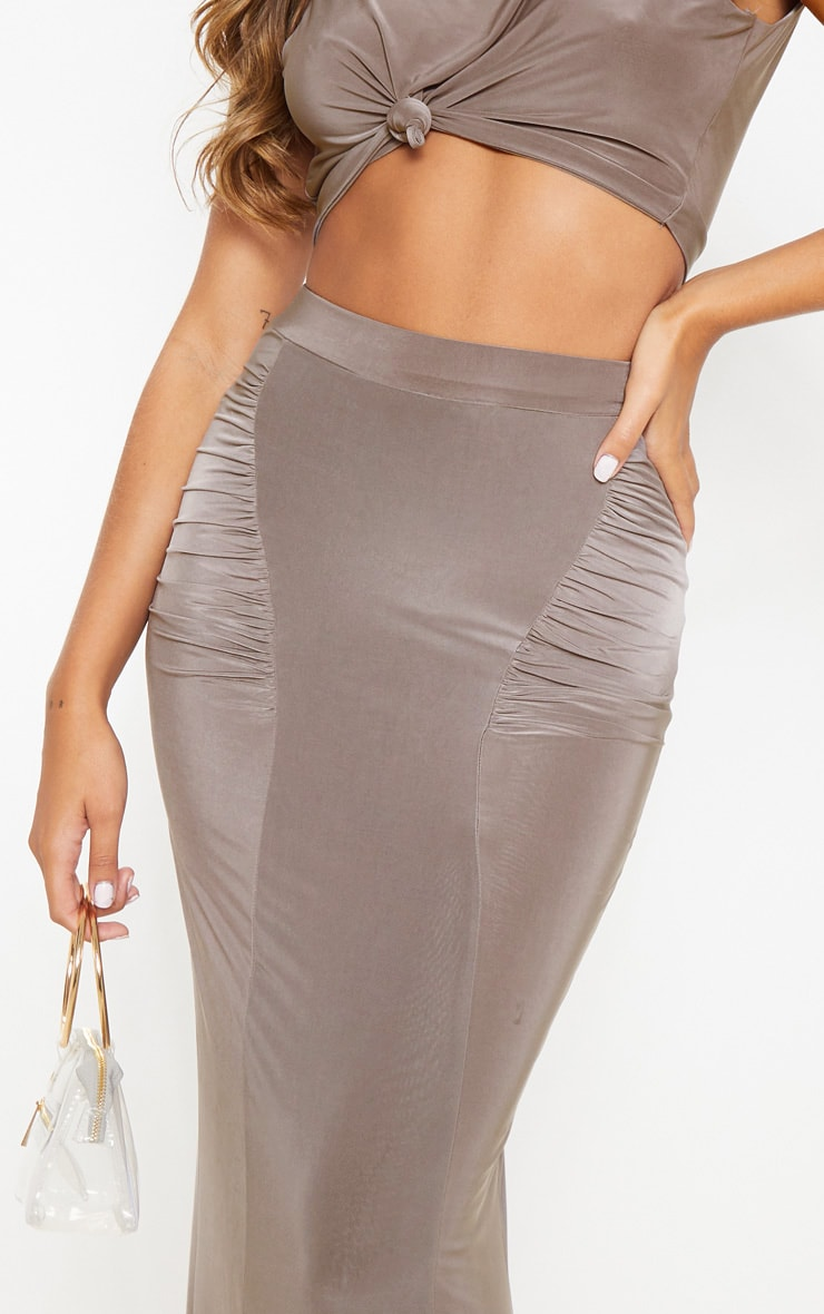 Dove Grey Slinky Ruched Detail Maxi Skirt 5