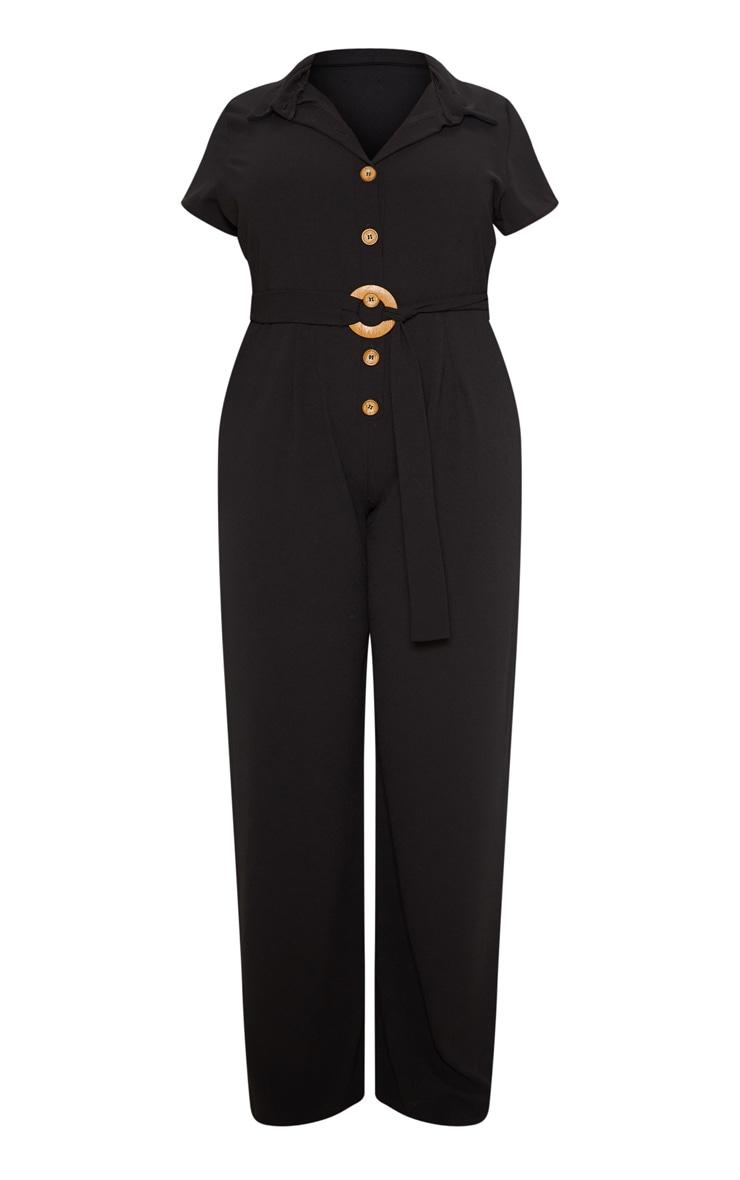 Plus Black Button Front Belt Detail Jumpsuit 3
