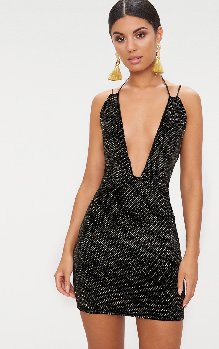 Black Glitter Plunge Neck Strap Bodycon Dress 1