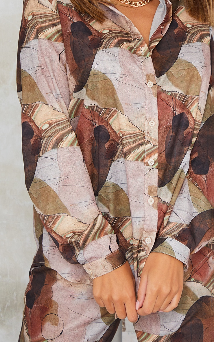 Beige Abstract Print Oversized Shirt 4