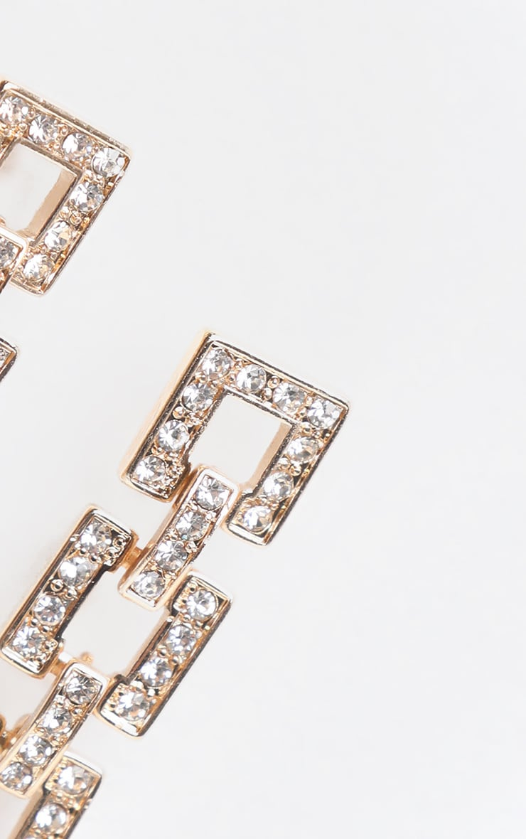 Gold Square Link Pave Drop Earring 3
