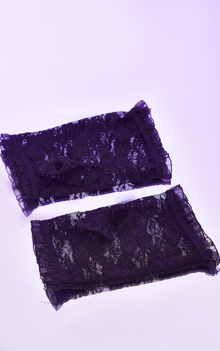 Black Finger less Lace Gloves 2