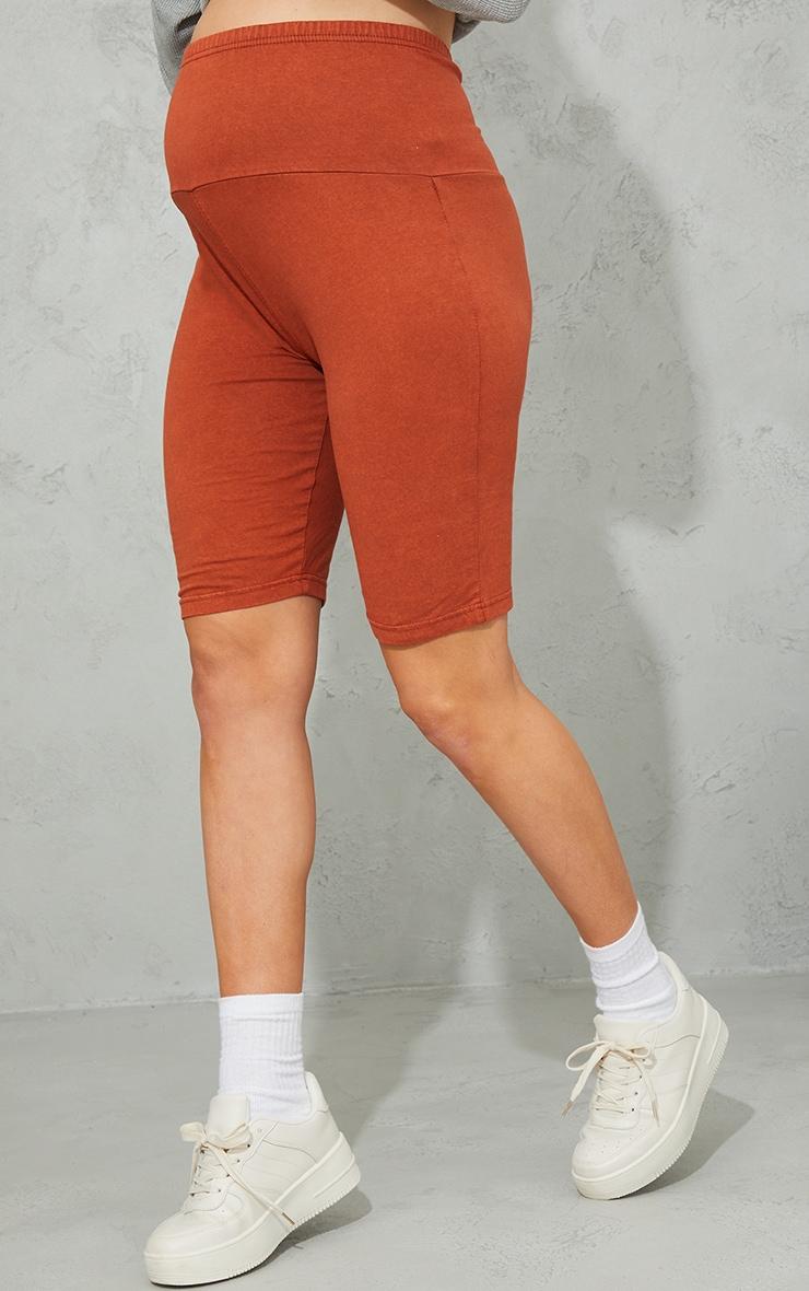 Maternity Rust Bump Band Cotton Cycle Shorts 2