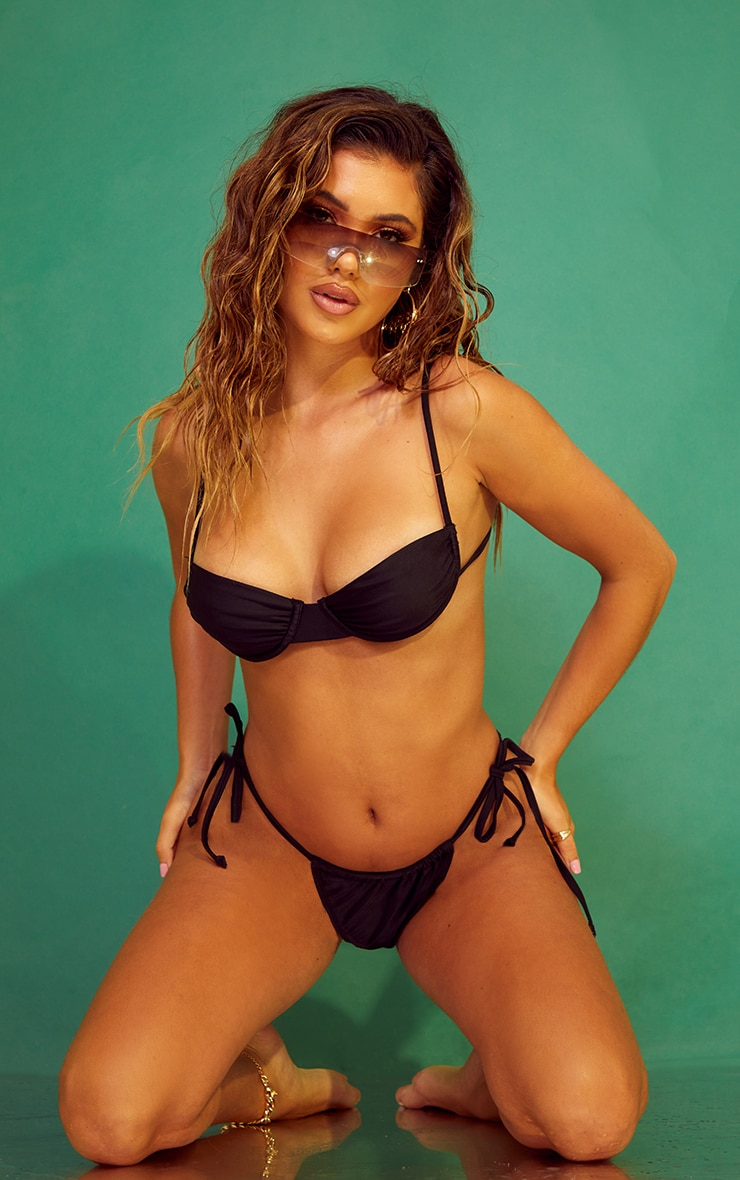 Recycled Black Ruched Cup Underwired Bikini Top 3