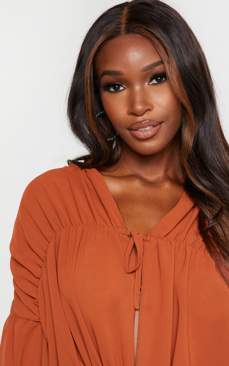 Rust Sheer Ruched Tiered Blouse 5