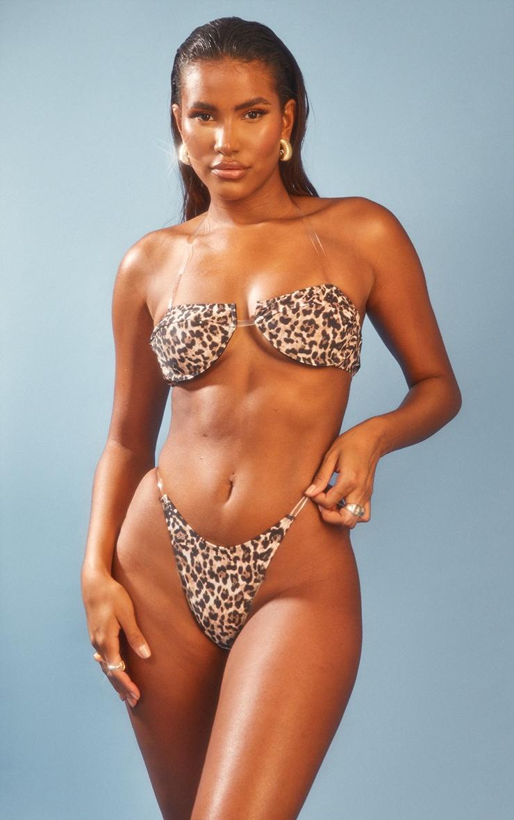 Leopard Clear Strap Underwired Bikini Top 1