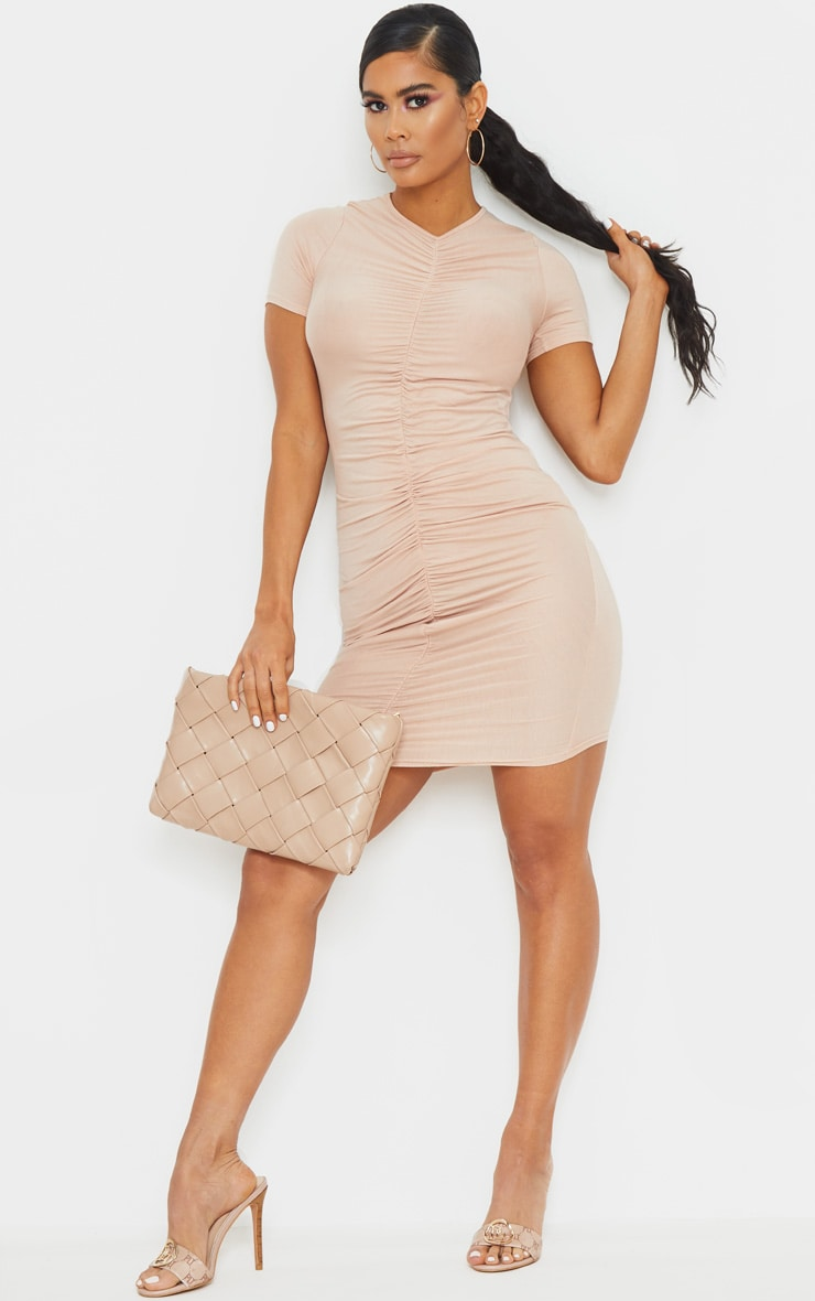 Blush Ruched Front T Shirt Dress 3