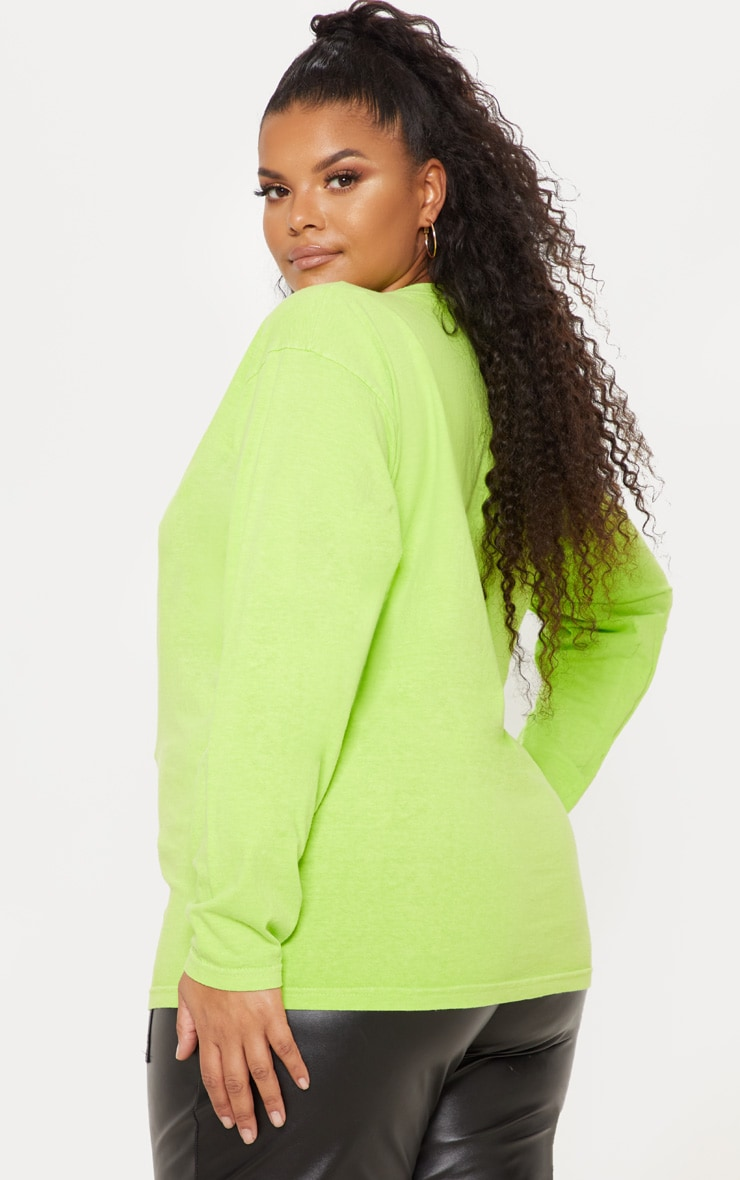Plus Neon Lime Long Sleeve T-Shirt 2