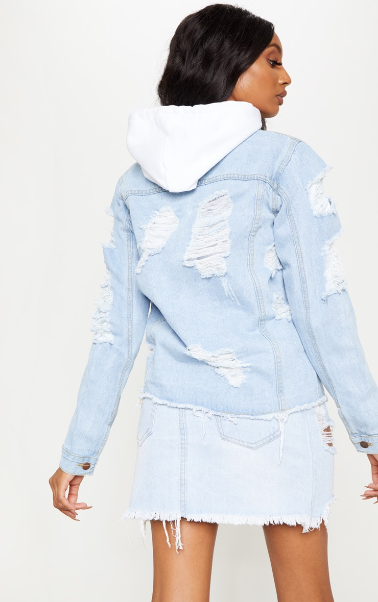 Light Wash Abegaila Distressed Oversized Denim Jacket  2