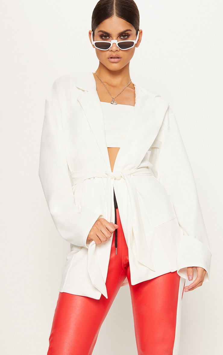 White Oversized Belted Blazer