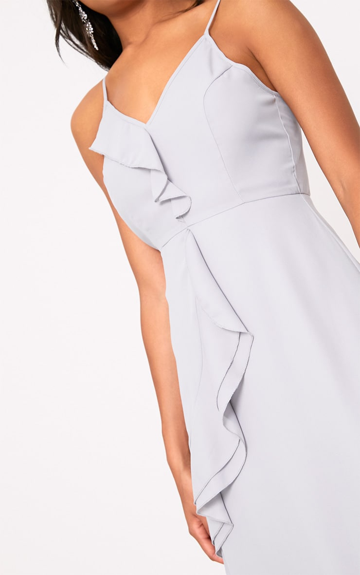 Dallia Ice Grey Ruffle Detail Midi Dress 5