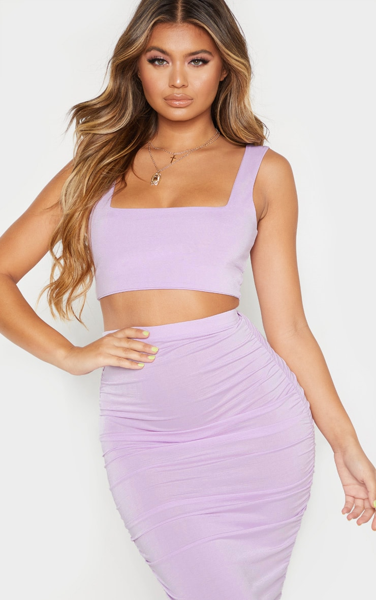 Lilac Second Skin Slinky Square Neck Crop Top  1