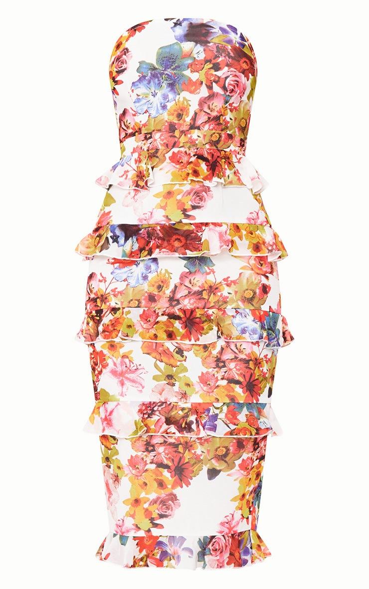 White Floral Ruffle Detail Midi Dress 2
