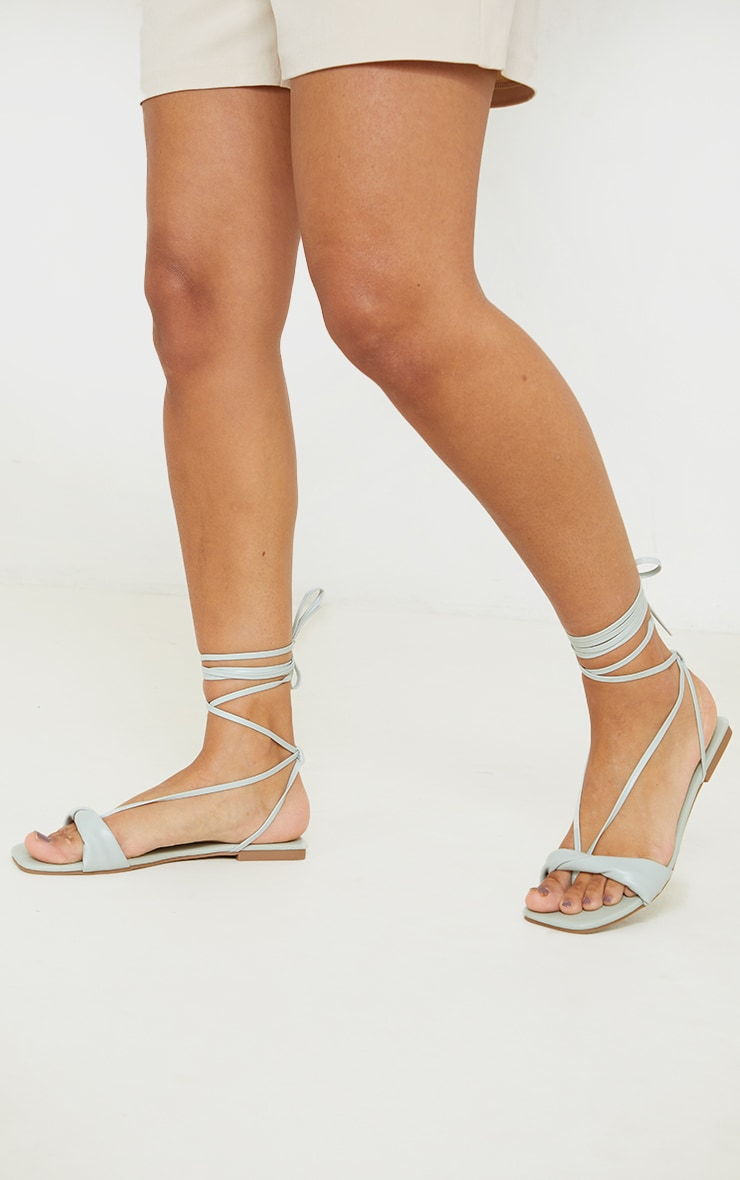 Sage Green PU Folded Square Toe Ankle Tie Sandals 2