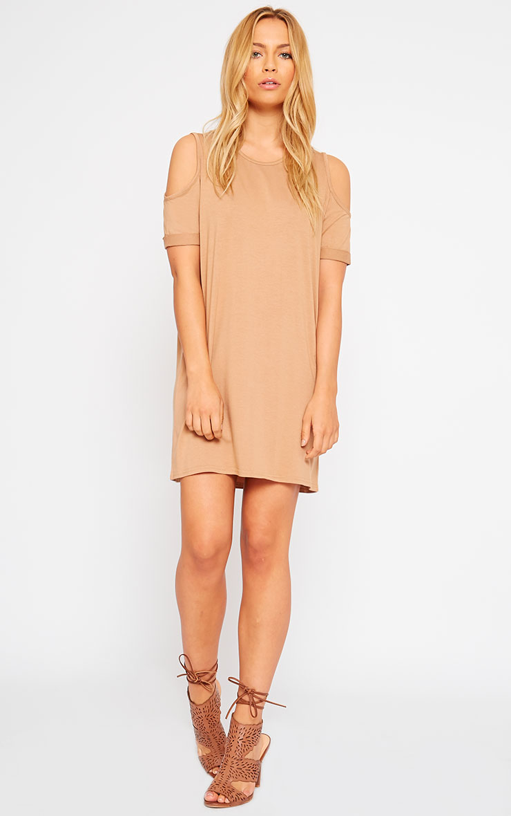 Basic Camel Cut Out Shoulder Dress 5