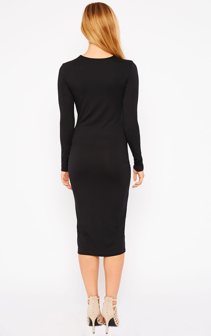 Kenna Black Knot Front Midi Dress 2