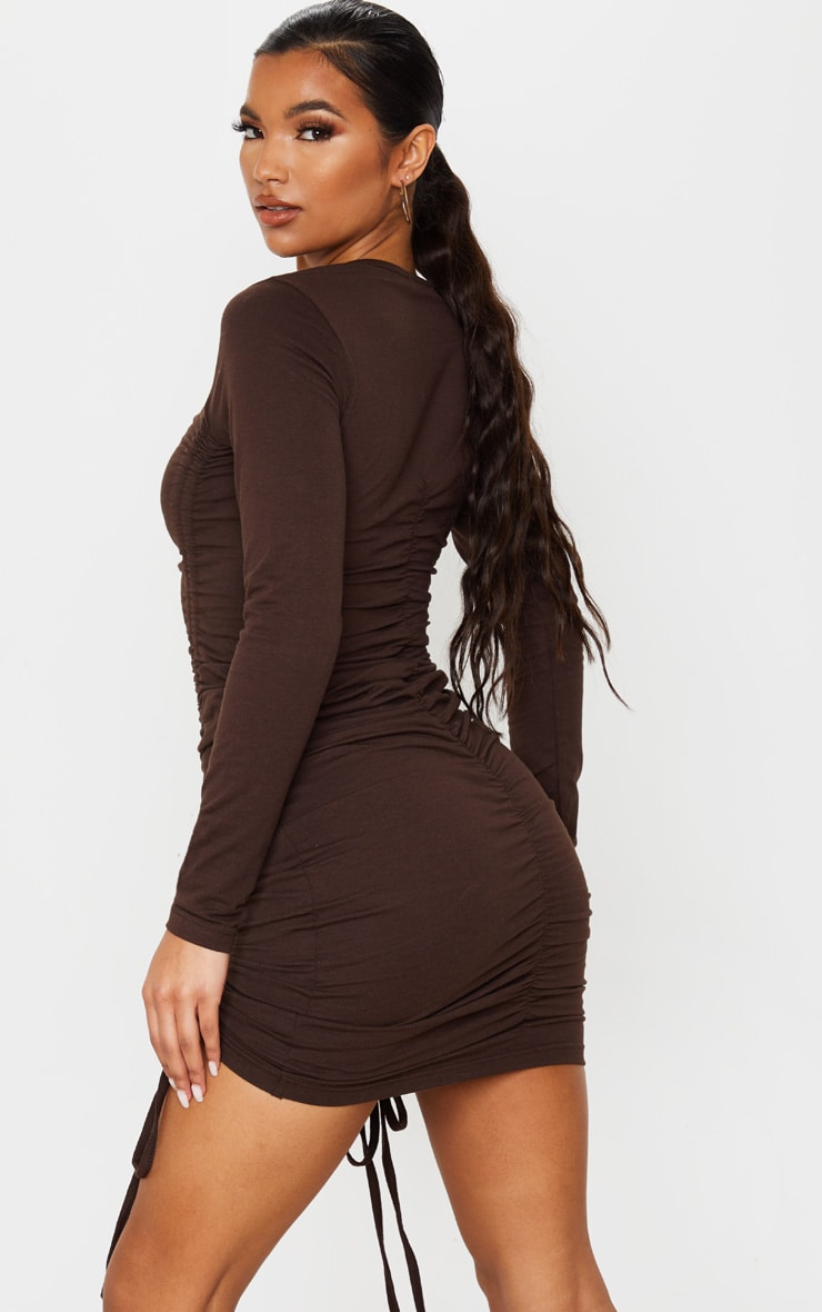 Chocolate Long Sleeve Ruched Front Bodycon Dress 2