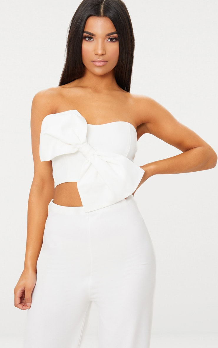 White Bow Front Bandeau Crop Top 1