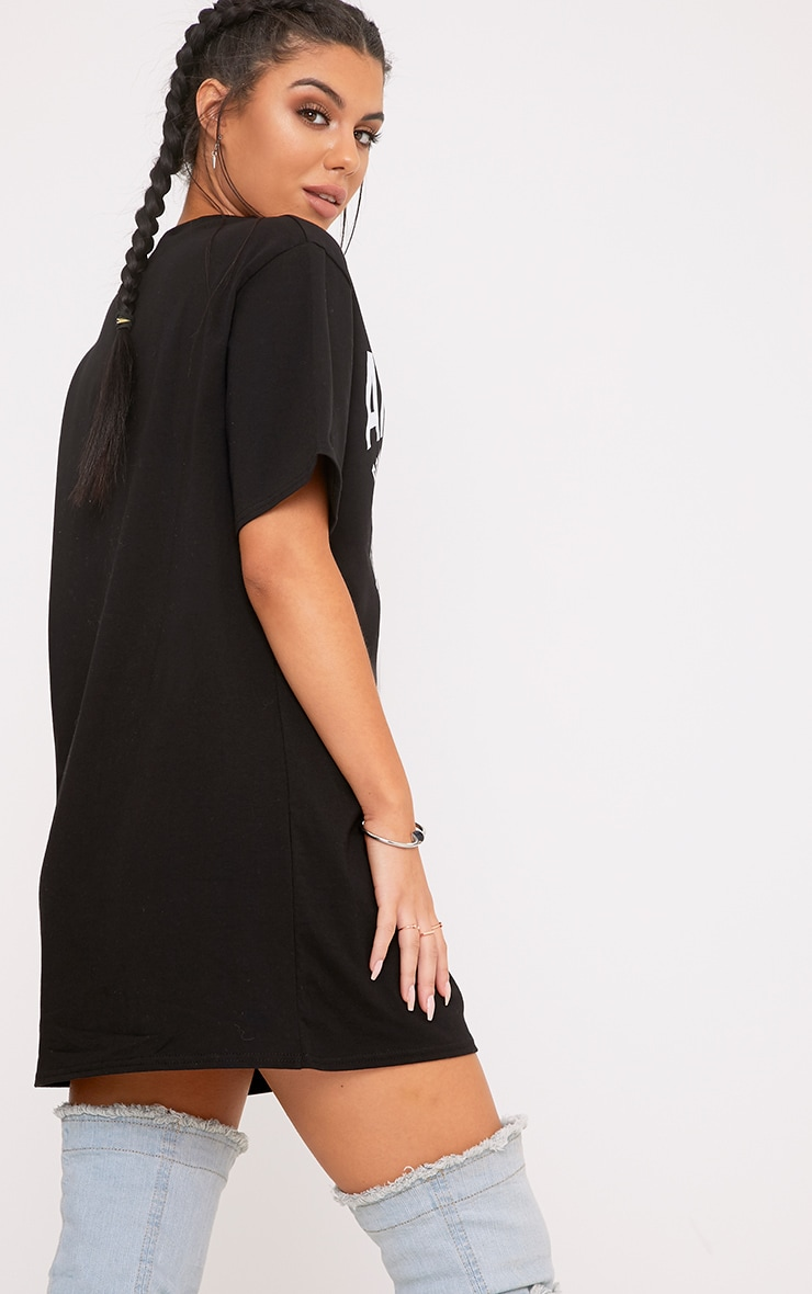 Born To Rock Spliced Slogan Cut Out T Shirt Dress 2