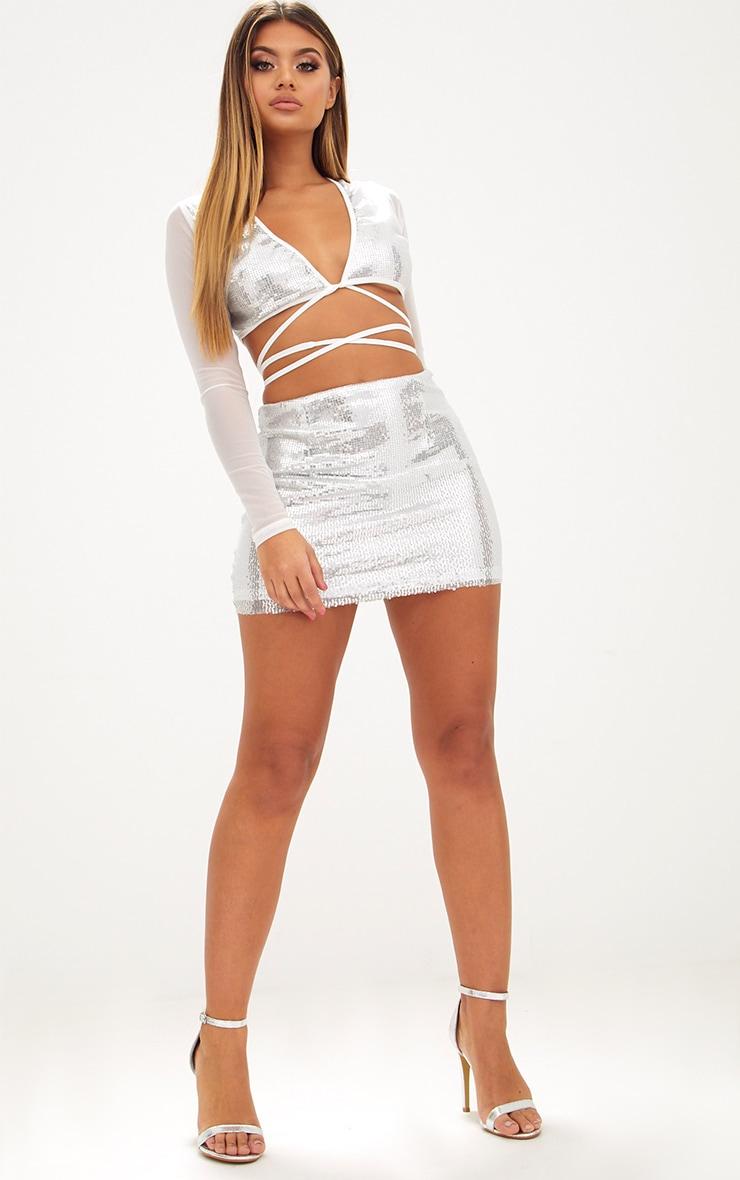Silver Sequin Plunge Front Tie Top 4
