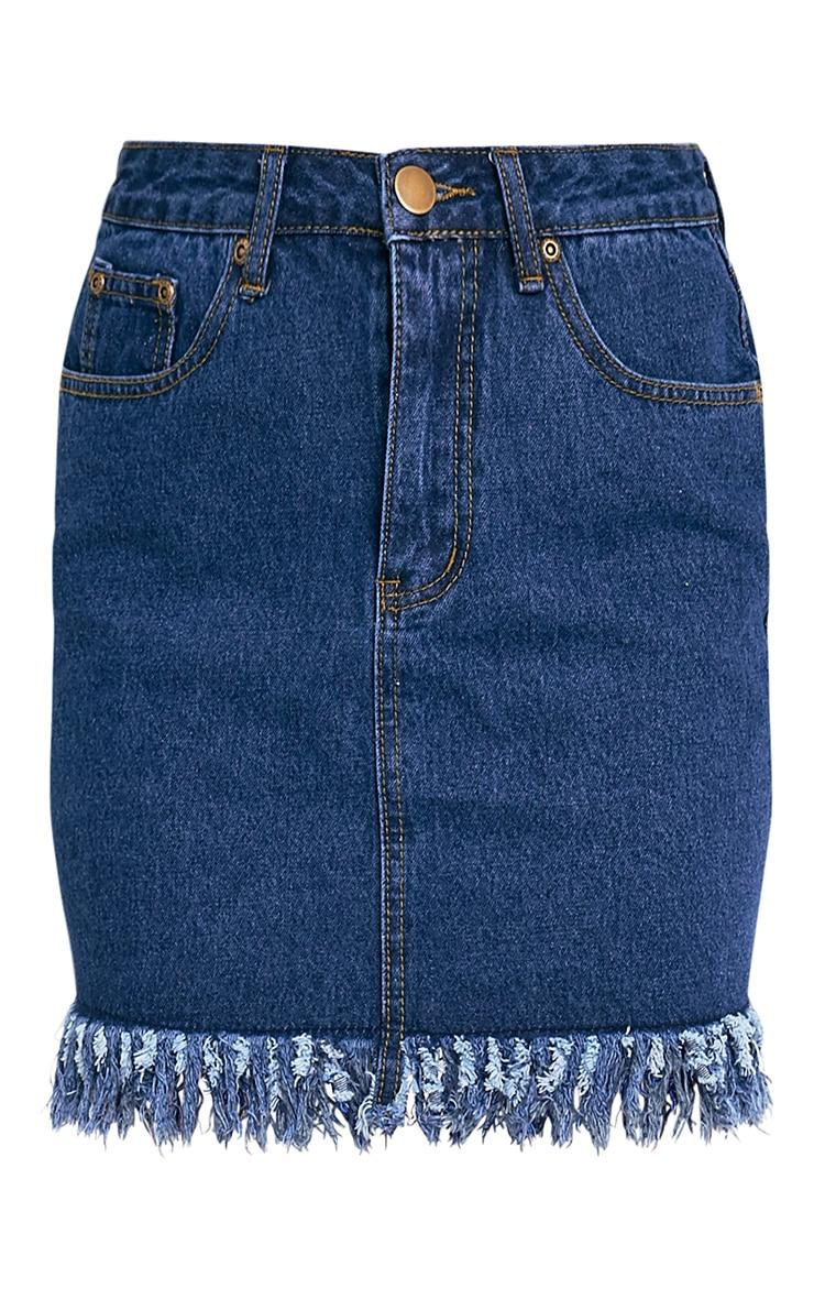 Jasminda Mid Wash Fringe Hem Denim Mini Skirt 3
