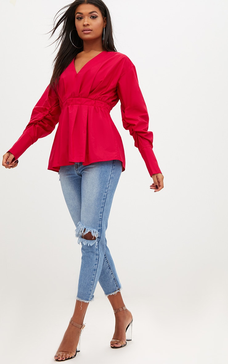 Red Ruched Sleeve Gathered Waist Shirt  4