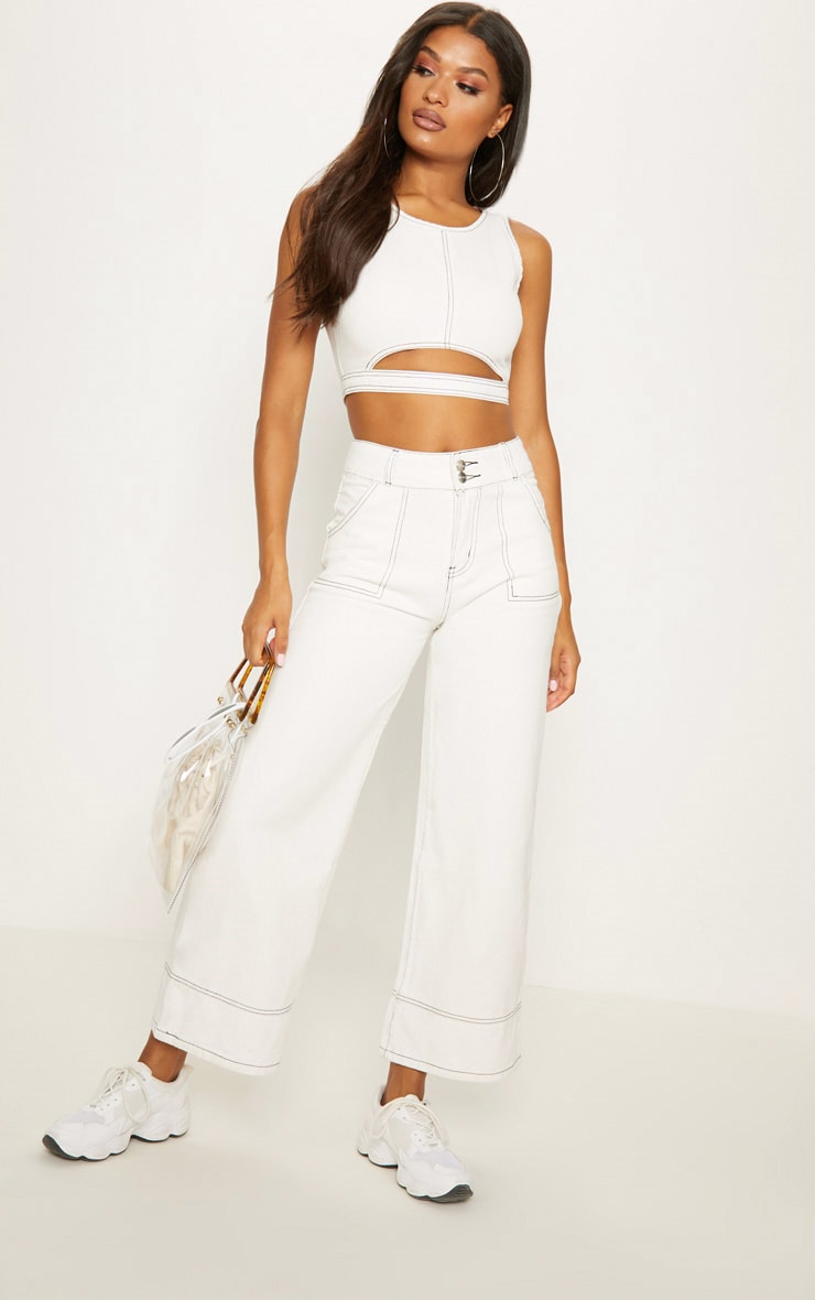 White Cut Out Denim Crop Top 4