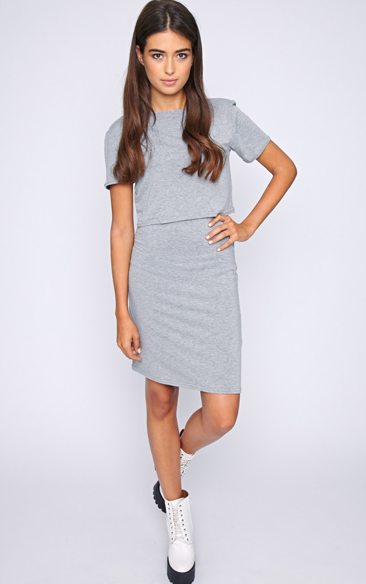 Fran Grey Layered Tshirt Dress with Open Back  5