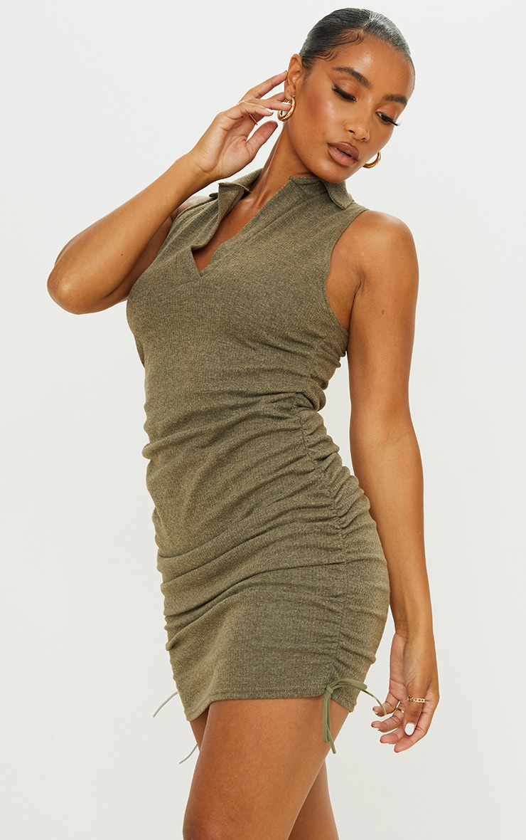 Khaki Brushed Broderie Polo Collar Ruched Bodycon Dress 1