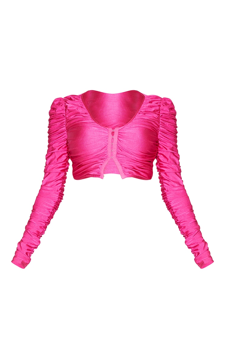 Hot Pink Scuba Extreme Ruched Hook And Eye Crop Top 5