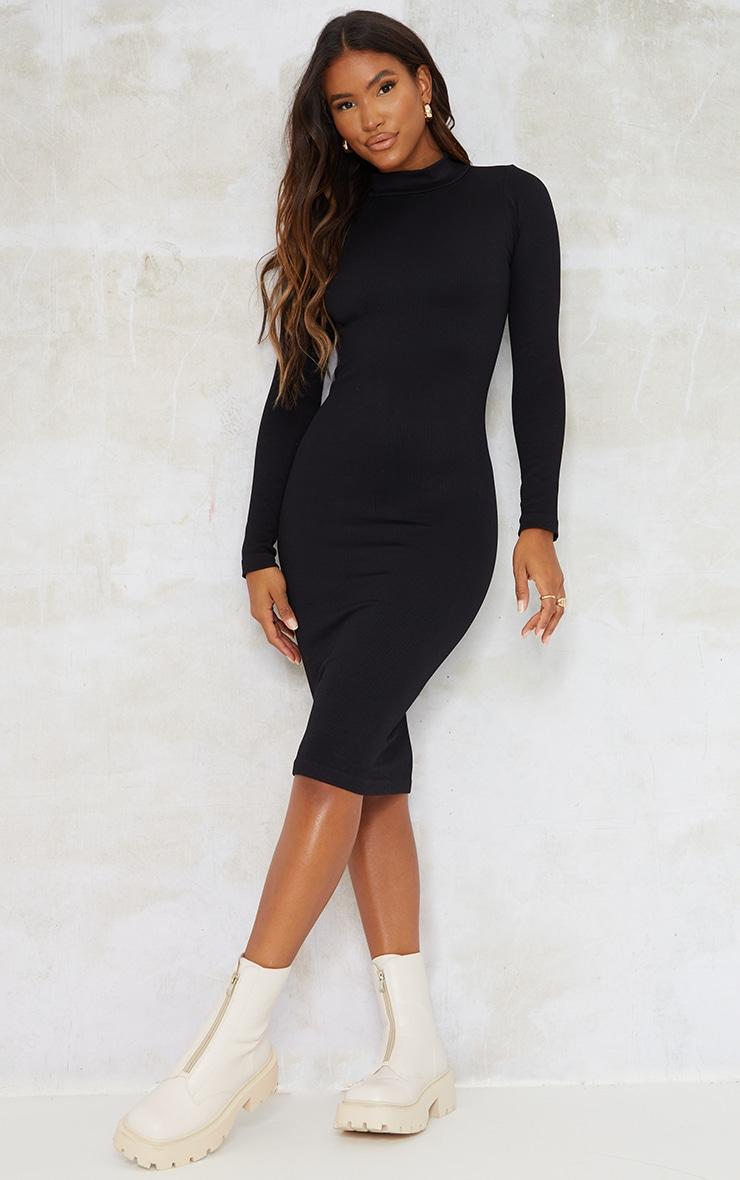 Black Structured Contour High Neck Midi Dress 1