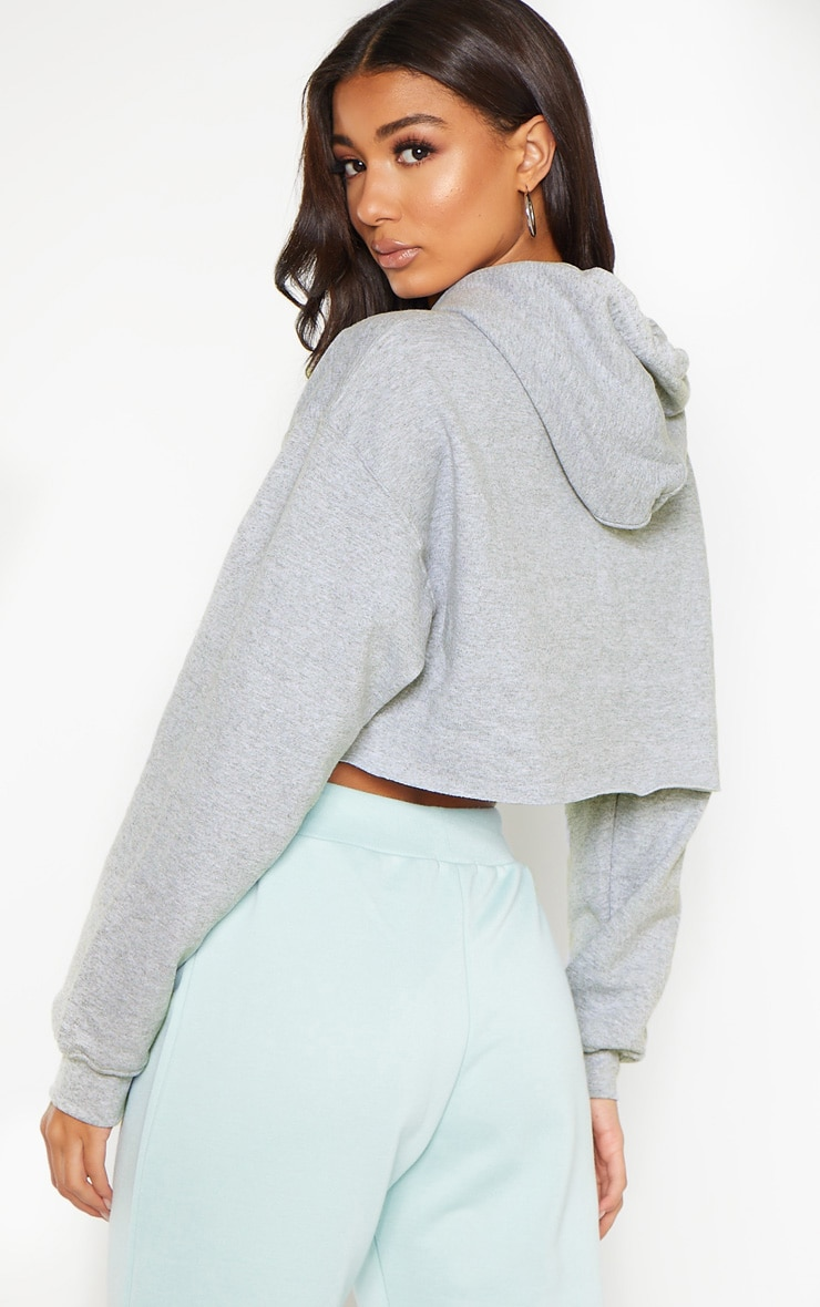 PRETTYLITTLETHING Grey Marl Embroidered Crop Hoodie 2