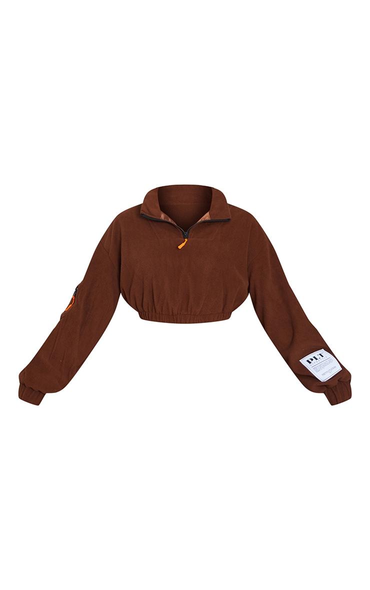 PRETTYLITTLETHING Chocolate Brown Badge Detail Cropped Zip Through Fleece 5